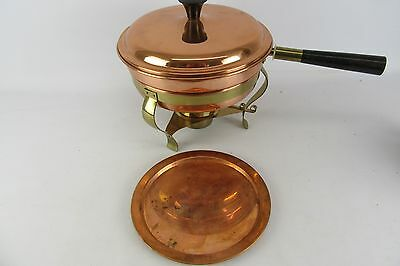 Vintage Douro Copper Chafing Pot With Lid And Brass Burner 5 Piece Set