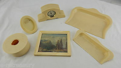 RARE OLD VINTAGE French Celluloid Ivory Pyralin Vanity Set CLOCK PICTURES PANS