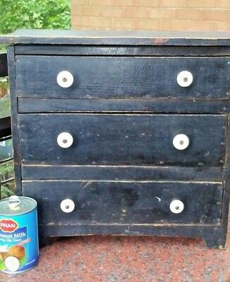 Primitive Antique New England Maine MiniTiny chest of drawers 1870's