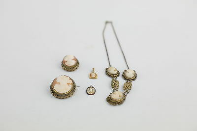 5 x True Vintage Real Shell CAMEOS inc. a Stunning Triple Cameo Necklace