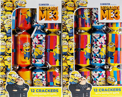 Set of 24 Despicable Me 3 Novelty Christmas Party Crackers
