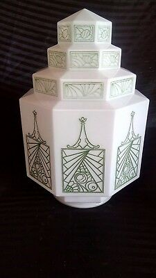 Art Deco 4 Tiered White w Green Stenciled Glass SkyScraper Pendant  Lamp Shade