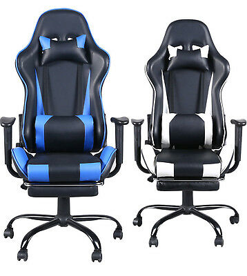 Office Gaming Chair Racing Reclining Bucket Seat Computer Desk Footrest USA