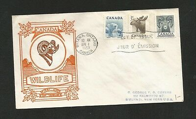 Canada Fdc George Cachet 322-4 Animal (F.s.i) -Flap Stuck To Inside Of Envelope