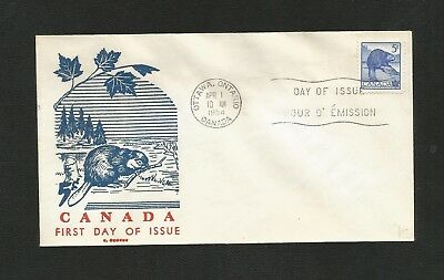 Canada Fdc George Cachet 336 Beaver (F.s.i) -Flap Stuck To Inside Of Envelope
