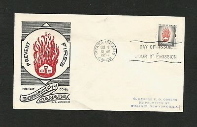 Canada Fdc George Cachet 364 Fire Prevention