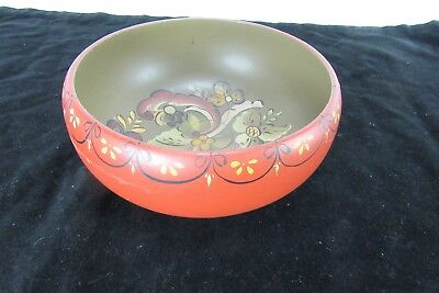 Vintage Norwegian Telemark Rosemaling Painted Wooden Bowl Signed & Dated 1974
