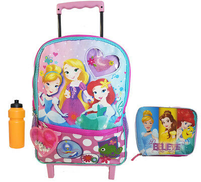 New Disney Girls' Princess Rolling Backpack w Lunch Box