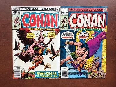 Conan The Barbarian #75 & 76 VF Marvel Key Issue Comic Bronze Age Newsstand