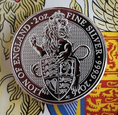 NEW 2016 UK Queen's Beasts Lion of England 2 oz. Silver Bullion coin
