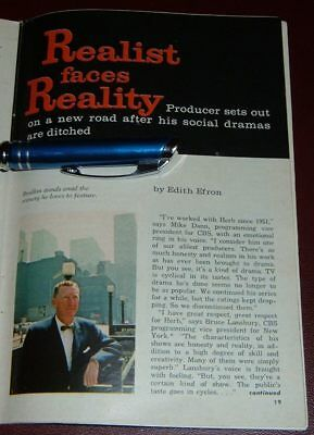 1965 TV ARTICLE~HERBERT BRODKIN~TV PRODUCER DRAMAS on SOCIAL ISSUES PLAYHOUSE 90