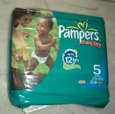 vintage pampers baby dry junior 11-25kg 24-55lb 30 diapers very rare