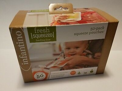 Infantino 50-Pack Squeeze Pouches Baby Feeding Puree with Caps # 208-102 NIB