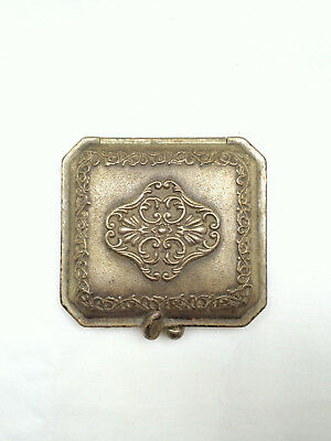Vintage, Victorian, Art Nouveau, Pewter Compact with Mirror and 2 Lancome Puffs