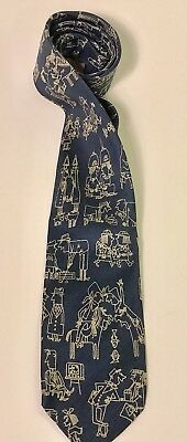 Bullock and Jones Blue Silk Tie Social Scenes Cartoon Characters Vtg England