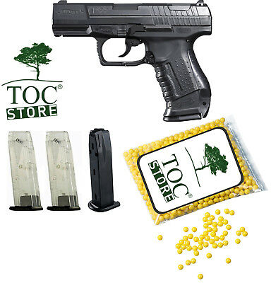 Set Walther P99 Softair Pistole < 0,5 Joule, 1000 TOC STORE® BBs, 3 Magazine