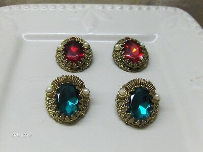 2 Pair of Vtg. Signed W Germany Filigree Red & Green Glass Clip On Earrings