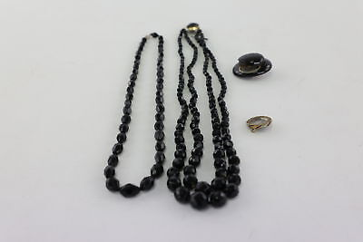 4 x ANTIQUE MOURNING JEWELLERY Inc. JET MOURNING LOCKET BROOCH, Beads