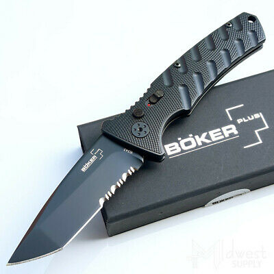 "Boker Strike Folding Knife 3 ⅜"" AUS8 Stainless Steel Blade Black Aluminum Handle"