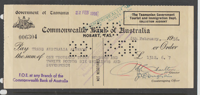 1956 Paid cheque.  Commonwealth Bank.   £1312.6.7d.  Government of Tasmania.