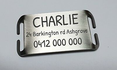 Dog tag silent slider steel laser engraved personalised custom slide on pet ID