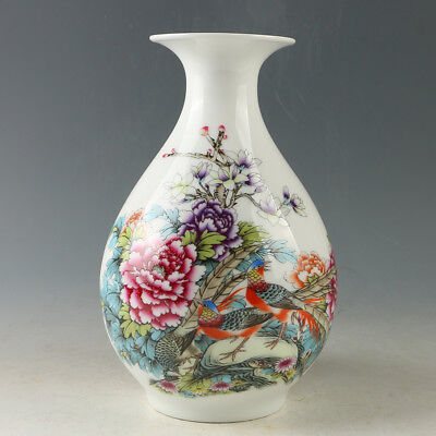 Chinese Porcelain Hand-painted Flower & Bird Vase W Qianlong Mark R1173