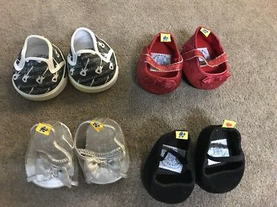Various Build A Bear shoes Pick One Pair , Black , Red Sparkles , Silver Sandals