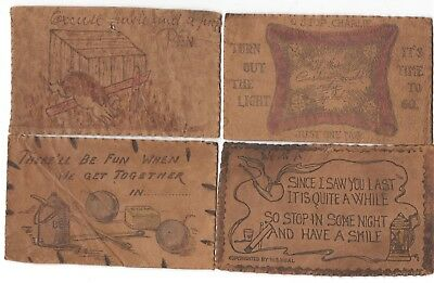Leather Postcard Lot (4) Stop Charlie Dynamite Pig Jumping Over Fence Comic