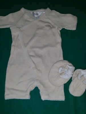 Baby boy girl unisex BEBE by MINIHAHA romper body suit & shoes booties, 00 3-6m