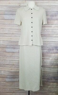 St. John Collection (Marie Gray) Beige Knit Long Skirt Suit Set Womens Size 8