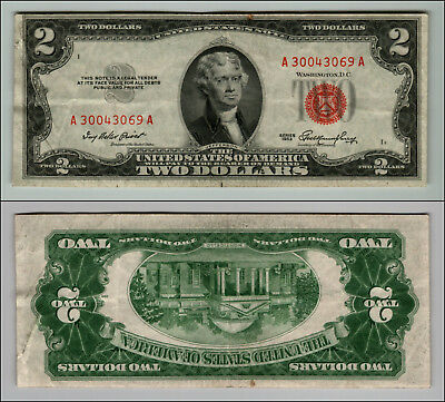 1953 $2 Dollar Bill Us Note Legal Tender Paper Money Currency Red Seal J426