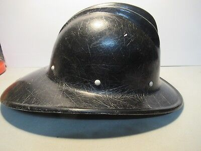 Bullard Hard Boiled Hard Hat Black Old Fireman No Inside Strap Band 3 Rib Top