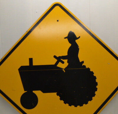 Authentic Retired Road Sign: TRACTOR FARMER CROSSING warning yellow large