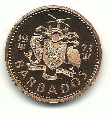 A Very Nice Proof 1973 Barbados One 1 Cent Coin-Nov52