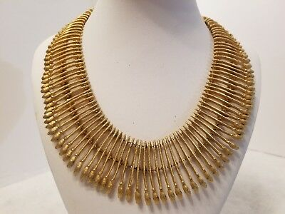 Beautiful Antique Vintage Book Chain Gold Tone Egyptian Style Necklace 16""