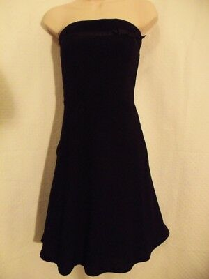 68a6c5eb1bf0 H & M Dress Size 4 Black with Satin Trim and Bow Accent Strapless EUC