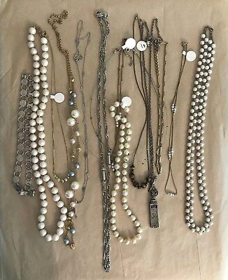Jewelry Lot 14 Mid Century Vintage Fashion Necklaces Chains Beads Pearls Estate