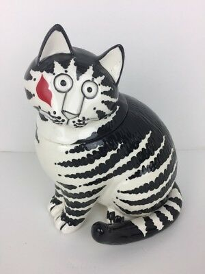 Kliban Cat Treat Jar or Cookie Jar Blk and Wht with Lips Kiss on Cheek by Sigma