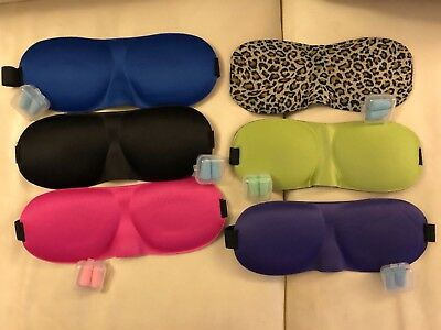 Comfortable 3D sleep mask with ear plugs - 6pc Bundle