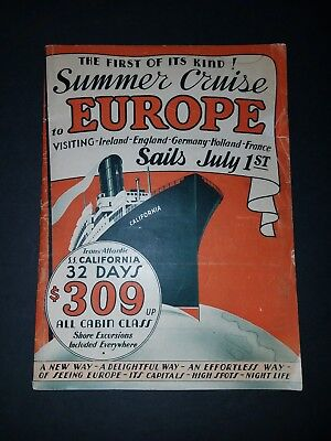 1933 SS California Cruise Brochure Summer Cruise To Europe - Includes deck plan