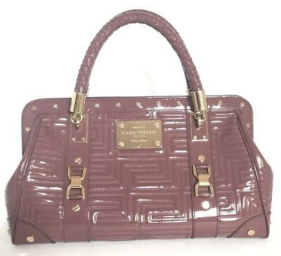f5da841eb9 Authentic Gianni Versace Couture Handbag Plum Quilted Greek Key Patent  Leather