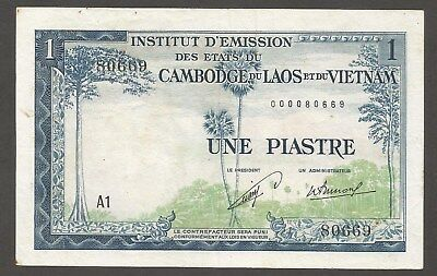 """French Indochina 1 Piastre N.D. (1954); VF+; P-100; Laos issue; Prefix """"A1"""""""