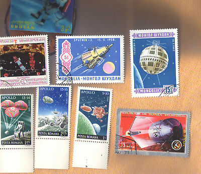 Soviet era stamps with a space theme, circa 1970s ~ including APOLLO Mission