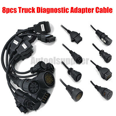 8 pcs OBD OBDII Truck Cable Adapter Truck Diagnostic Interface Cable Connecter