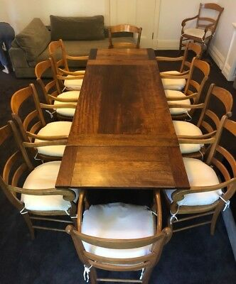 Dining Room Table with Matching Chairs - Wood - Antique