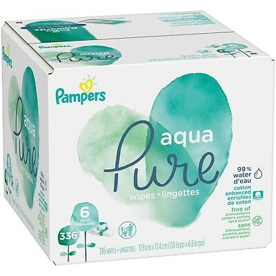 Pampers Aqua Pure Sensitive Baby Wipes Pop-Top, 336 Count, Pack of 6 NEW!!!