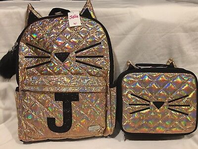 NWT Justice  Gold Cat Quilted Style Backpack & Lunch Tote Initial Letter ~J~
