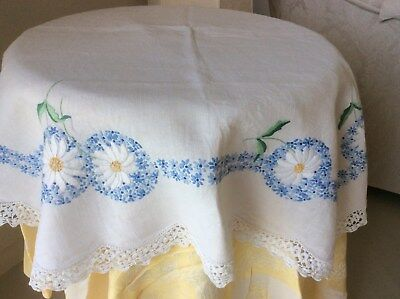 Blue Floral Hand Embroidered Supper Cloth