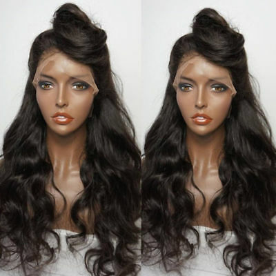Hair Ladies Black Brazilian Heat Resistant Long Body Wave Lace Front Wig