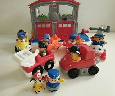 Fisher Price Little People Fire Station Emergency Helicopter Aeroplanes Engine